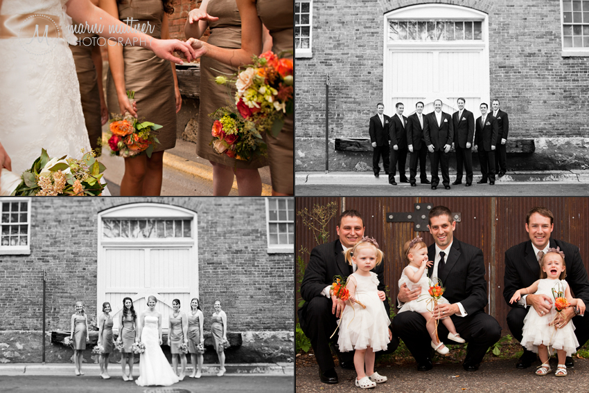 Wedding party photos downtown in the riverside town of Stillwater © Marni Mattner Photography