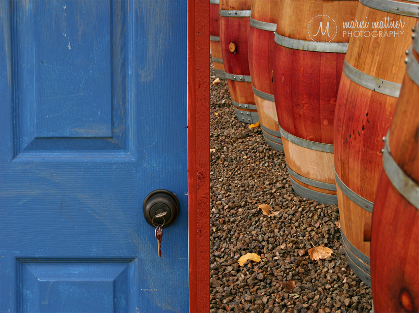 Cortez, Colorado's Sutcliffe Winery Door and Wine Barrels © Marni Mattner Photography