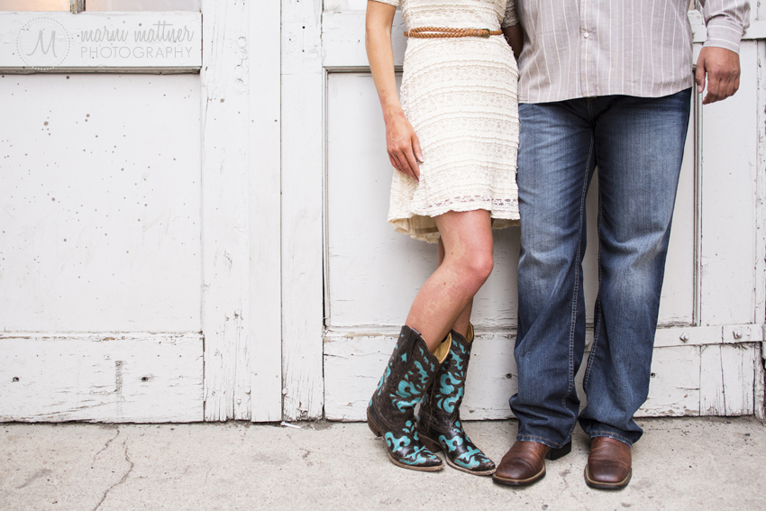 Brittany and Matt's Country Cowboy Boot Engagement Photos in LoDo © Marni Mattner Photography