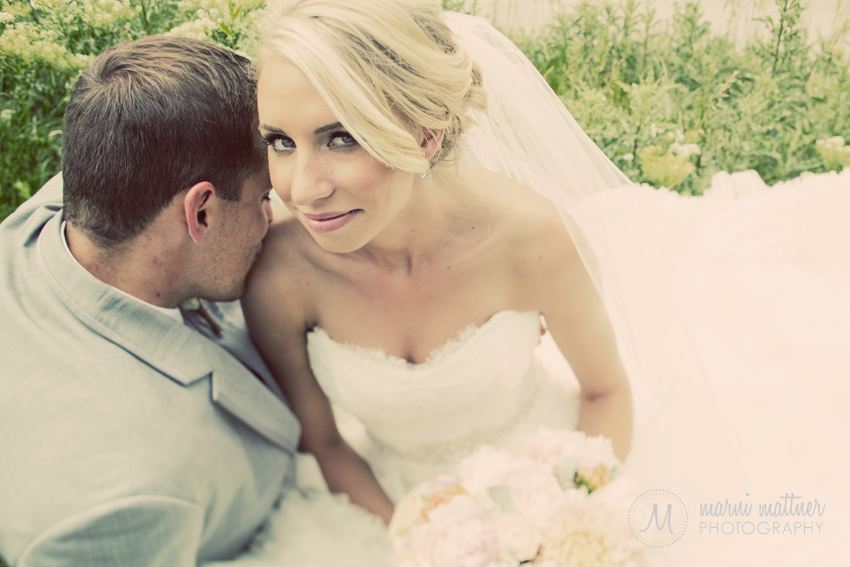 Groom Kisses Bride's Shoulder © Marni Mattner Photography