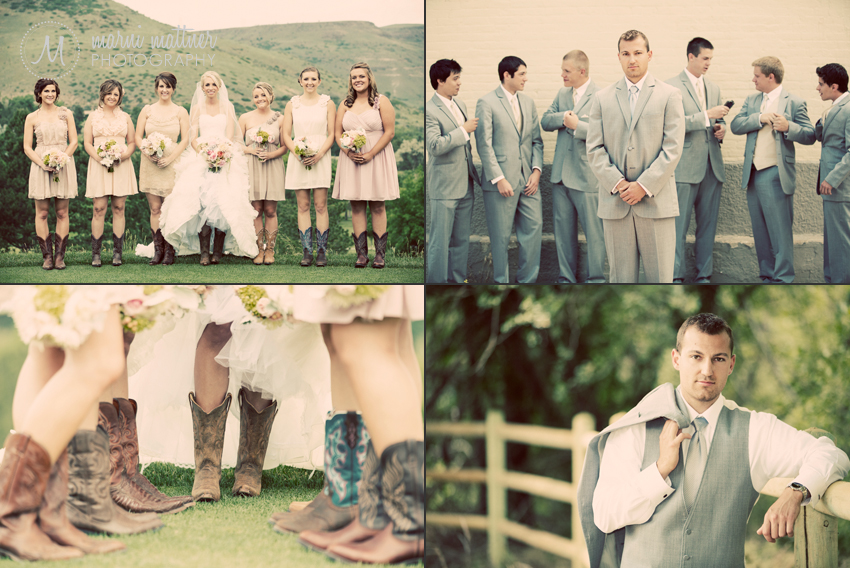 Bridesmaids and Bride in Cowboy Boots © Marni Mattner Photography