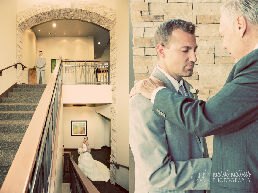 Bride & Groom On Either End of Staircase Instead of a First Look © Marni Mattner Photography