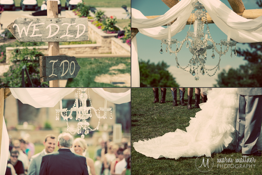 DIY Pinterest Ideas: Chandelier on Handmade Arbor and I Do/We Did Signpost © Marni Mattner Photography