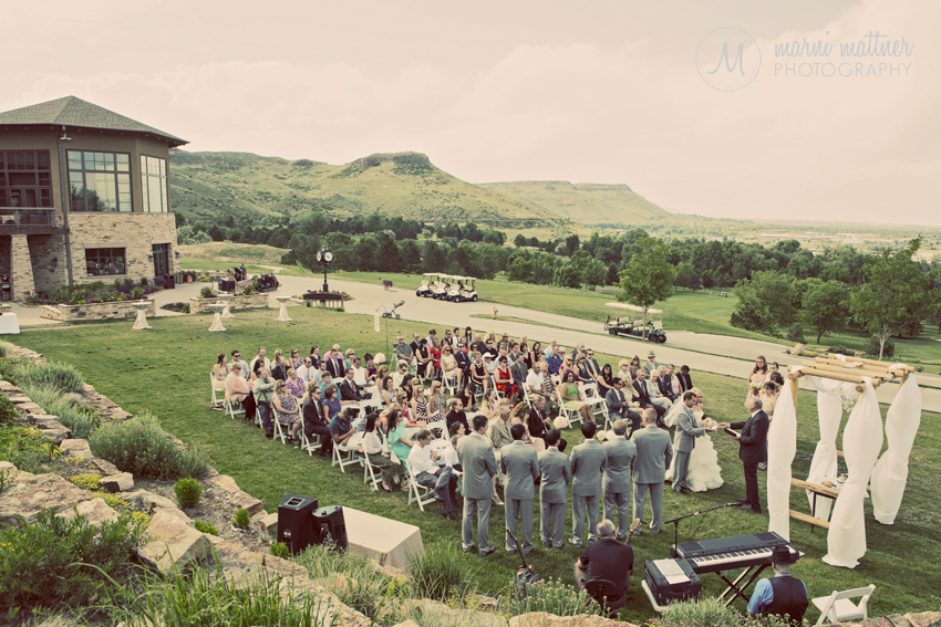 Wedding Ceremony at The Club at Rolling Hills in Golden, CO © Marni Mattner Photography
