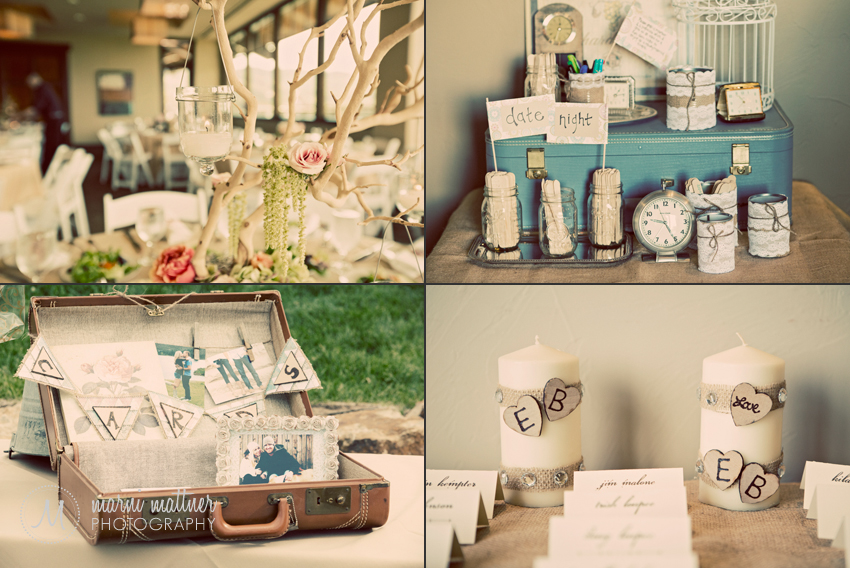 DIY Brides Will Love These Centerpiece and Detail Ideas: Tree Branch Centerpiece With Hanging Candles, Vintage Suitcases, Date Night Idea Popsicle Sticks, etc. © Marni Mattner Photography
