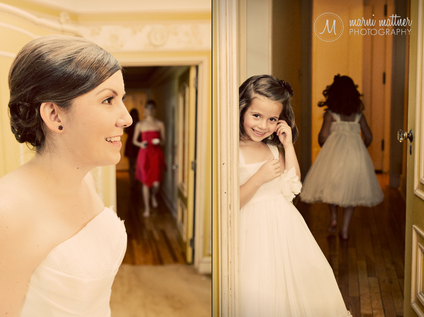 The flower girls look on as Jessica dresses for her wedding