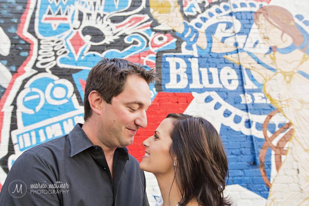 Graffiti goodness in RiNo art district for engagement photos © Marni Mattner Photography
