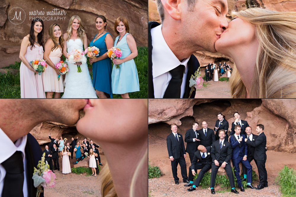 Wedding party photos at Red Rocks Park in the Rocky Mountains