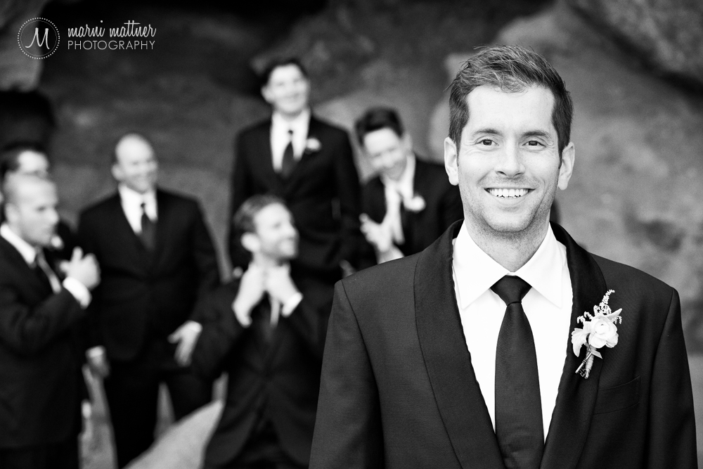 The groom and his groomsmen at Red Rocks Park near Golden, Colorado