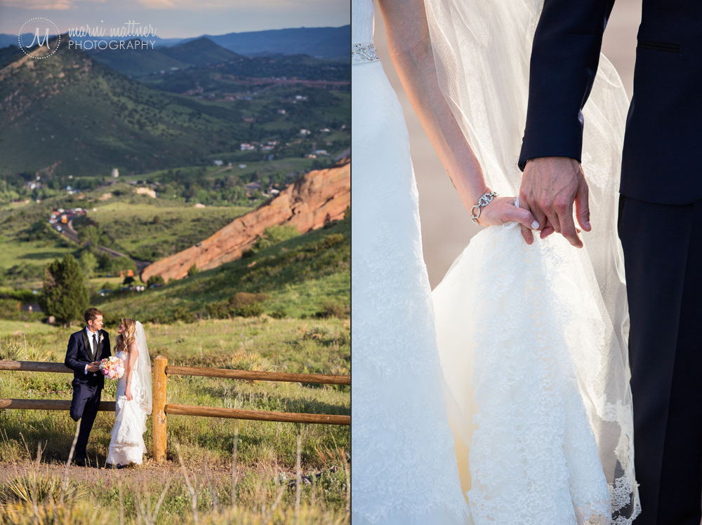 The bride and groom at Red Rocks Park overlook