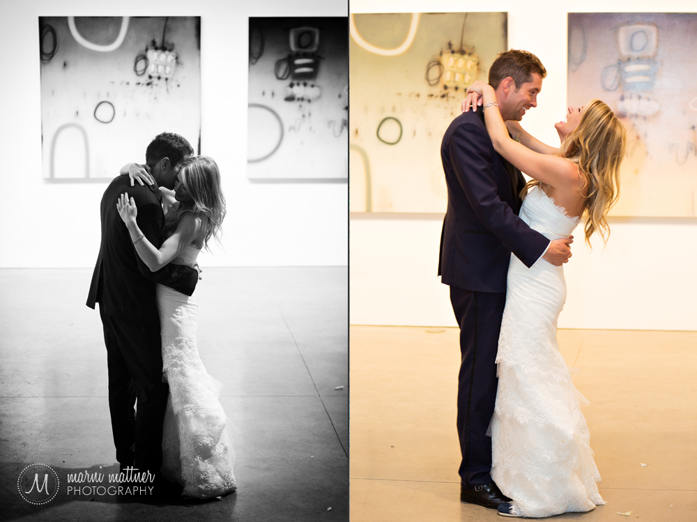 Nicole & Britton's first dance, with Space Gallery artwork on the walls