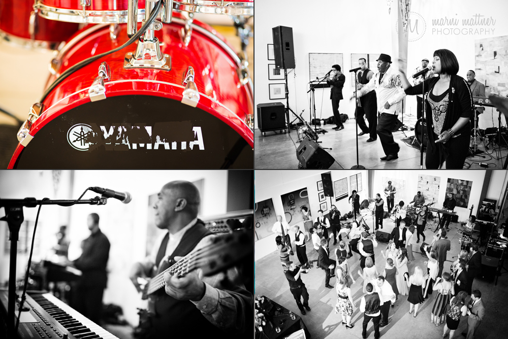 A big band and full dance floor at Nicole & Britton's Space Gallery wedding reception in Denver, CO