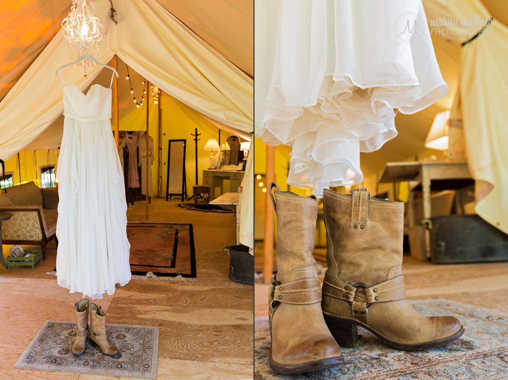 "Christy's flowing wedding gown hung in Riverbend's ""Glamping"" tent in Lyons, CO"