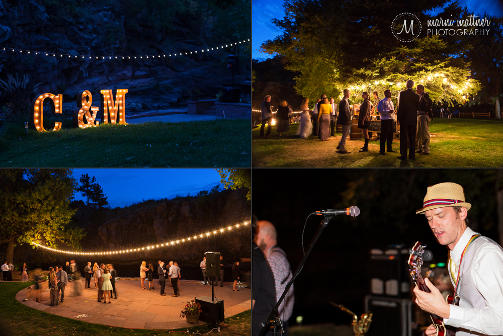 Marquee Lights and a full dance floor at Matt & Christy's Riverbend reception