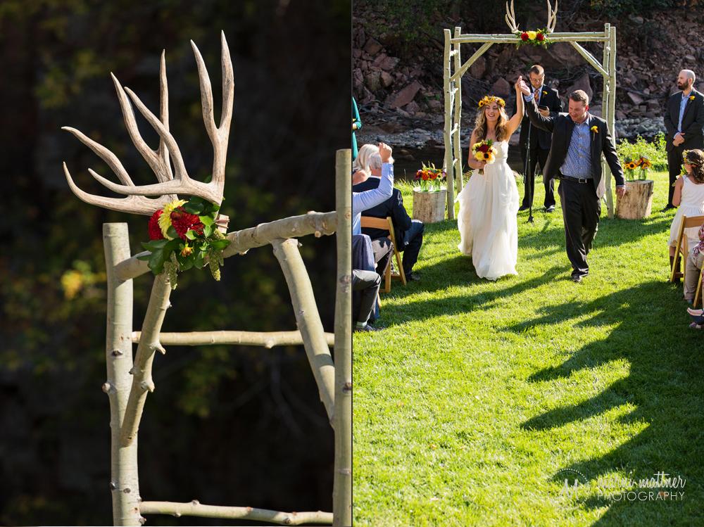 Deer antler arbor at Matt & Christy's Riverside wedding in Lyons, CO