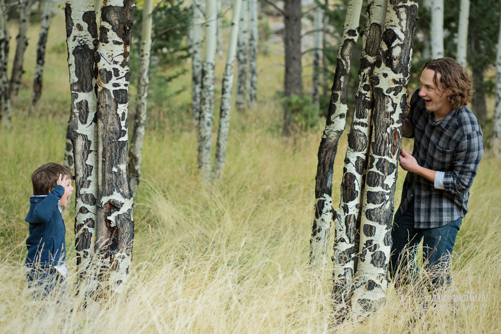 Max & Jayme play hide & seek amongst the Evergreen, CO Aspens