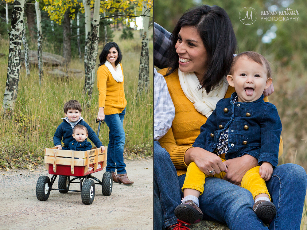 Jeanne with Max & Sadie in a vintage Red Ryder wagon in Evergreen, CO