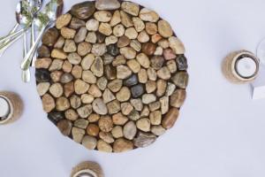 DIY Handmade Stone Wedding Centerpiece © Marni Mattner Photography
